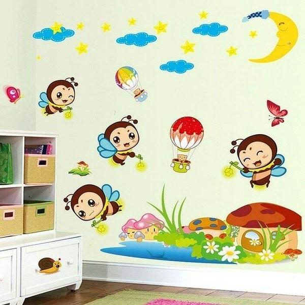 jual wall sticker dinding kamar anak ruang belajar cartoon lebah bee