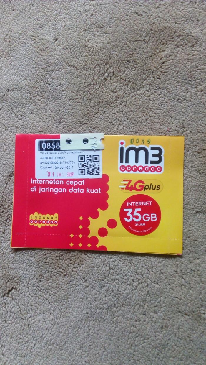 Kartu Nomor Perdana Indosat IM3 Ooredoo 4G Plus Kuota Internet 35GB