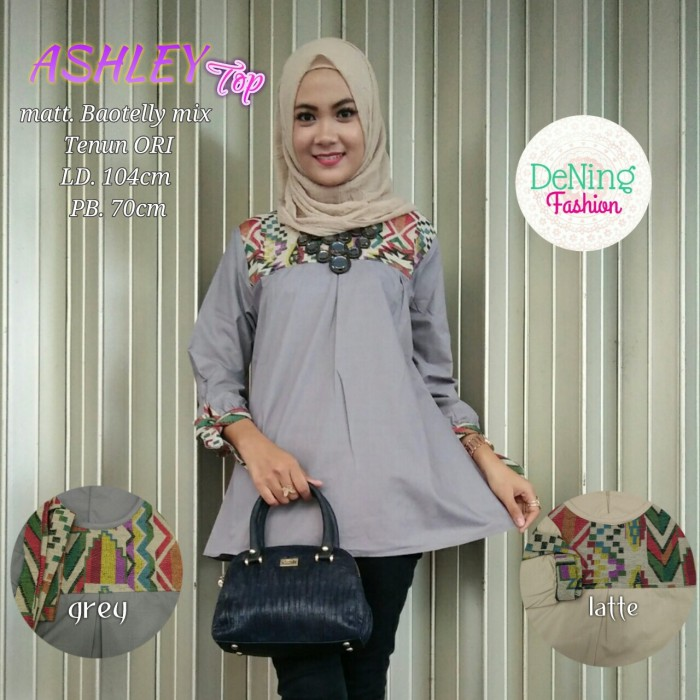 Blouse Balotelli Mix Tenun Baju Atasan Wanita Tunik ASHLEY TOP