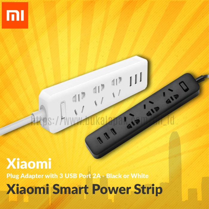 Xiaomi smart power strip plug adapter with 3 usb port 2a