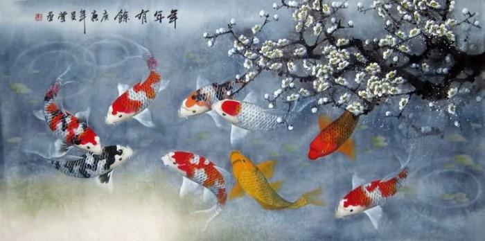 harga Repro gambar lukisan ikan koi hoki feng shui pretty painting beautiful Tokopedia.com