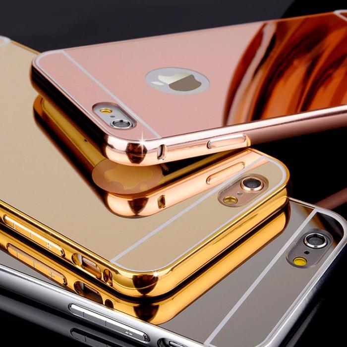 Case For Oppo Neo 7 Slide Bumper Mirror - Gold + Free Iring