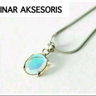 harga Kalung wanita titanium silver + liontin tali air kalimaya oval 10x12mm Tokopedia.com