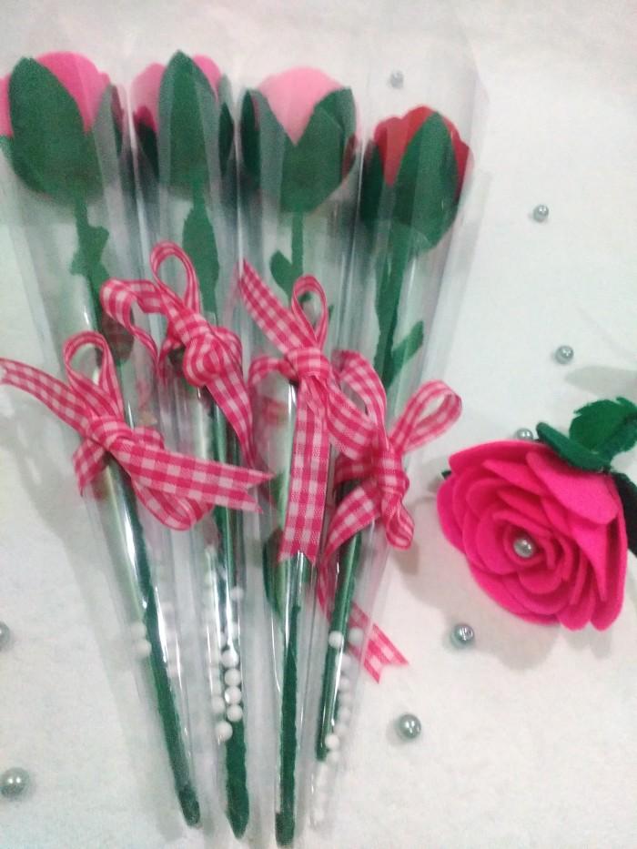 Jual Bunga Mawar Flanel Flanel Rose Tangkai Souvenir Wisuda