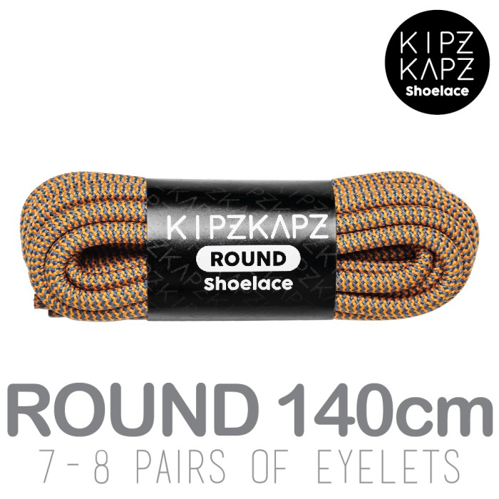 Kipzkapz shoelace - tali sepatu bulat / round 4mm - blue orange 140cm