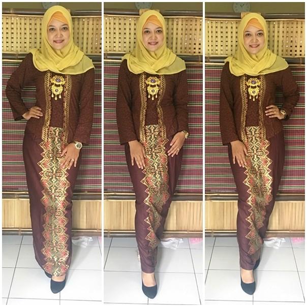Jual Gamis Batik Modern Setelan Kutubaru Gb181 Coklat Model Kutubaru
