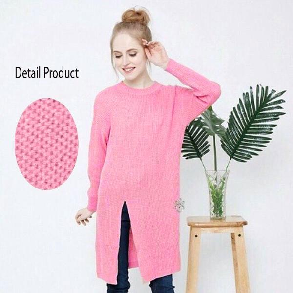 Jual Baju Rajut Dress Korea Murah (Slit Dress Pink) Grosir - Kanaci ... a0008882c8