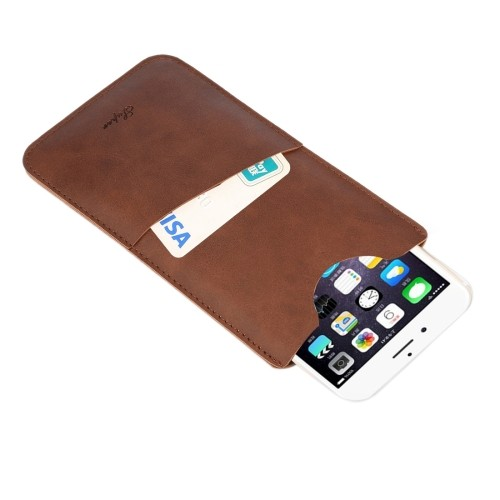 harga Premium cow vertical leather cardslot pouch iphone 6+ / 7+ dll brown Tokopedia.com