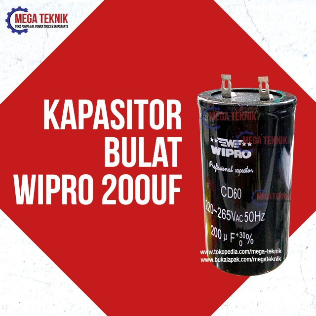 harga Kapasitor / capasitor bulat electro motor listrik dinamo wipro 200uf Tokopedia.com