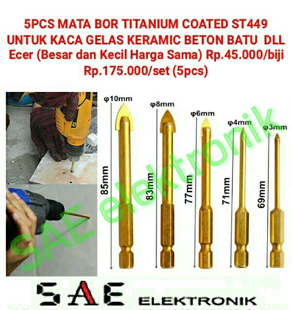 harga 1 set 5pcs mata bor kaca glass keramic dll titanium coated drill sm449 Tokopedia.com