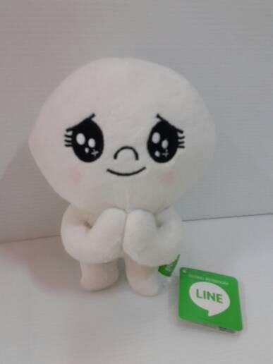 Boneka line putih emoticon mata berkaca kaca