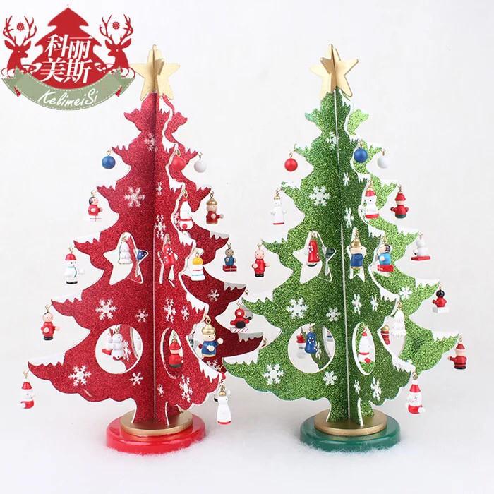 Dekorasi natal pohon meja kayu christmas tree aksesories