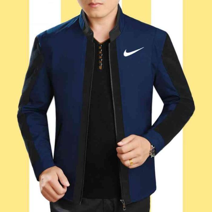 S37 Jaket Nike Navy Combi Hitam Lo] Jaket Pria Babyterry Biru