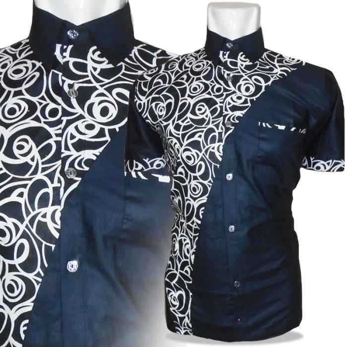 Desain Batik Kombinasi Polos Pria: Jual A0630 BAJU KEMEJA BATIK MONOCHROME BATIK PRIA