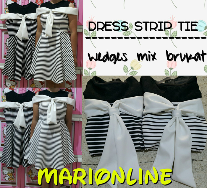harga Dress wedges strip tie Tokopedia.com