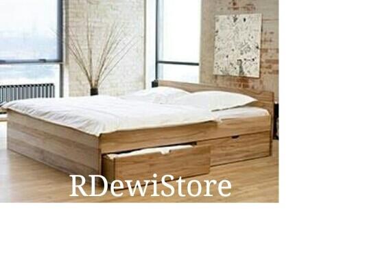 harga Tempat tidur, dipan, ranjang, minimalis kayu jati polos 160x200 laci Tokopedia.com