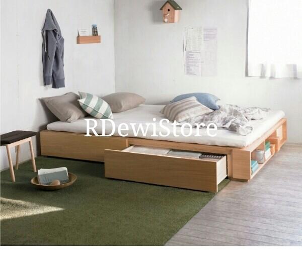 harga Tempat tidur, dipan, ranjang, minimalis kayu jati polos lesehan laci Tokopedia.com