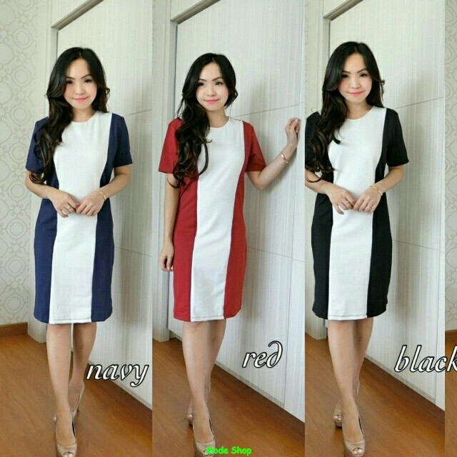Dress two tone/simple/macam macam dress wanita/mini dress polos/SG