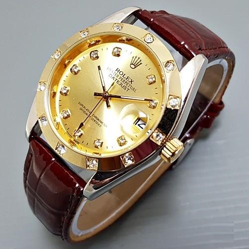 harga Jam tangan rolex matic / otomatis kulit coklat - combi gold Tokopedia.com
