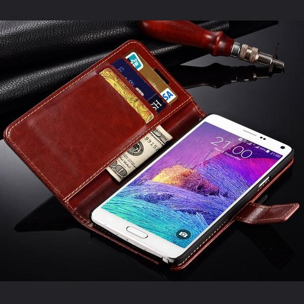 harga Samsung galaxy note 4 wallet flip cover card case leather vintage Tokopedia.com
