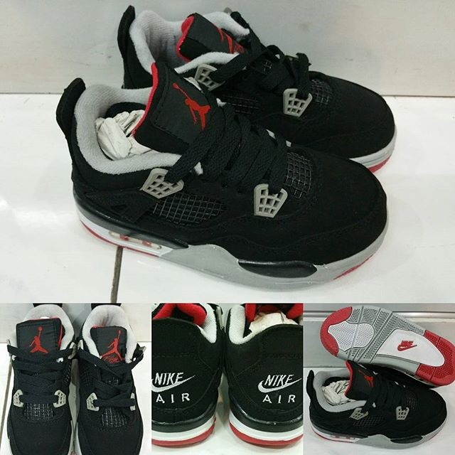 size 40 85318 f6a9b Sepatu Anak Air Jordan 4 Kids Bred Black Grey Red Hitam Abu Merah