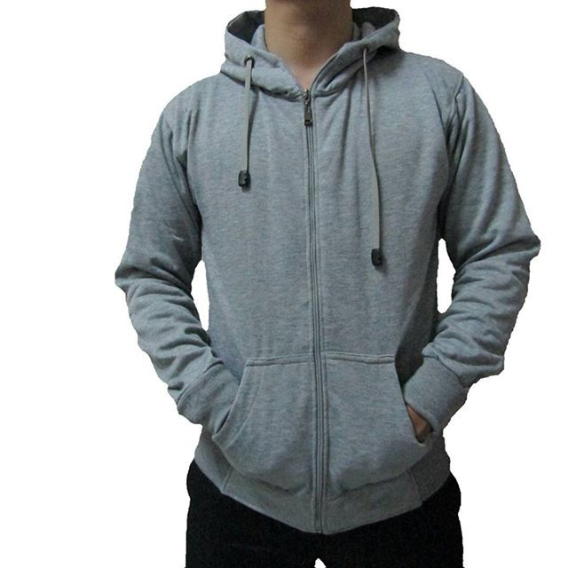 Foto Produk Jaket Polos Pria/Wanita Grey Zipper Hoodie dari Pusat Distro Fashion
