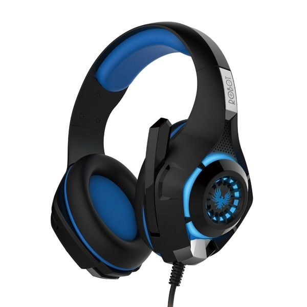 Robot RH-P08 Stereo HiFi Gaming Wired Headset with Colorful Light Blue