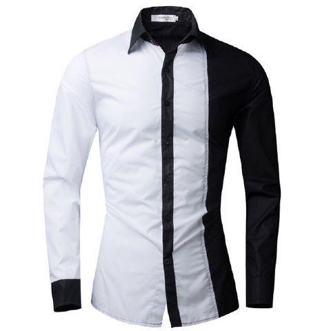 harga [dunch wb white black ot] kemeja pria katun stretch putih hitam Tokopedia.com