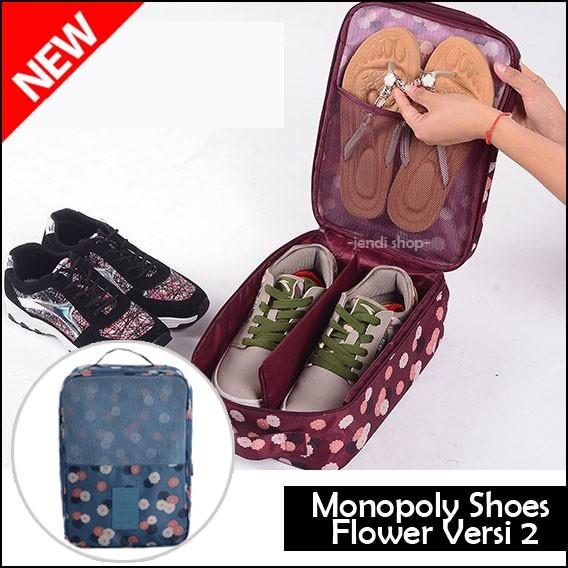 Monopoly Shoes Pouch Tas Sandal Sepatu Futsal Olahraga Versi 2 FLOWER .