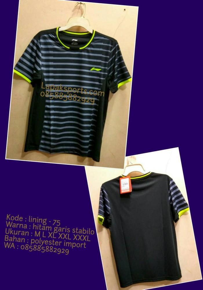 harga Kaos badminton lining 75 hitam Tokopedia.com