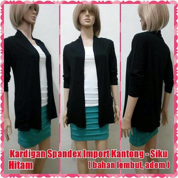 Foto Produk Kardigan Spandex IMPORT Kantong Siku - Hitam | Cardigan Luaran Bolero dari Cutie Online Shop