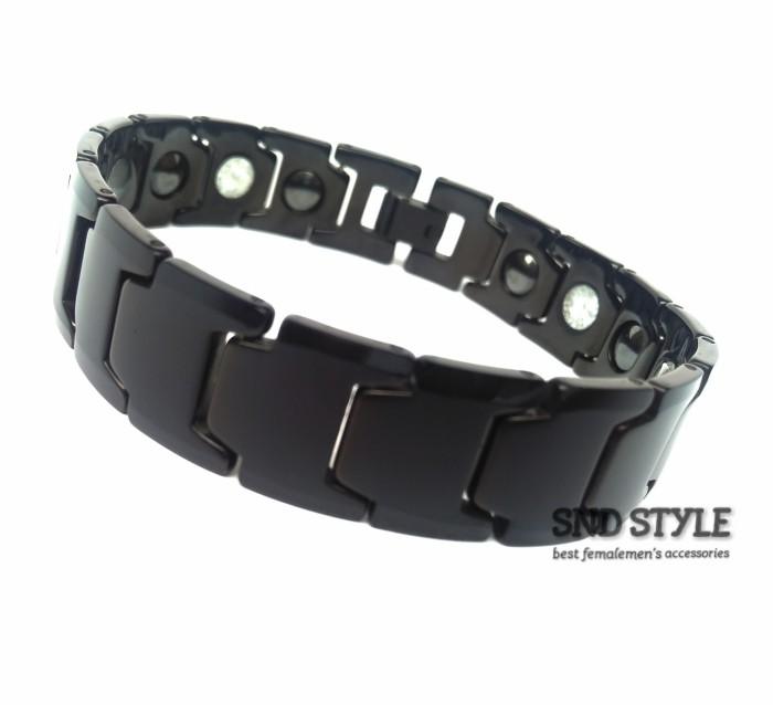 harga Brecelet Magnetic Tungsten Black   Gelang Magnet Kesehatan Tokopedia.com