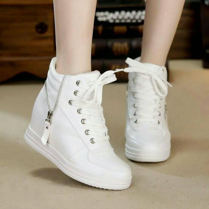 Jual sepatu boots wedges sneakers putih sepatu wanita kets wedges ... 304429cd54