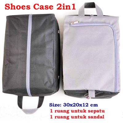 Tas Sepatu Hitam Abu Kaos Kaki shoes Case Organizer Shoe Bag Travel .