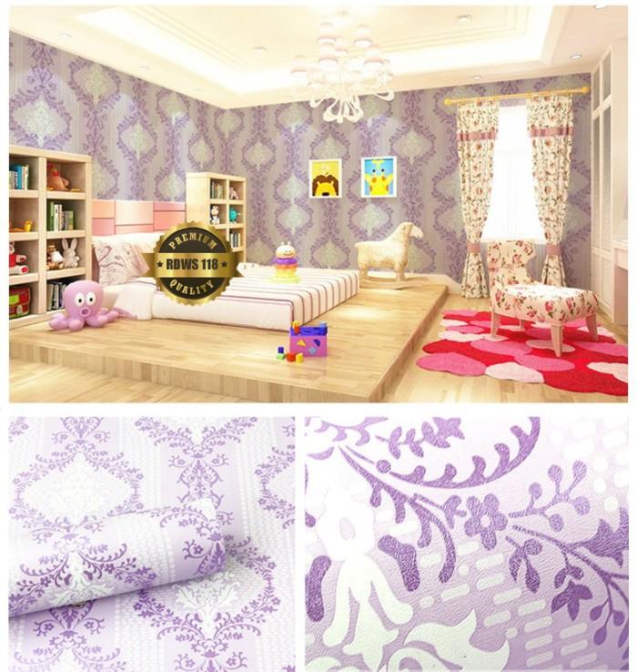 Wallpaper Dinding Motif Batik Ungu Minimalis Ukuran 45 cm x 10 meter
