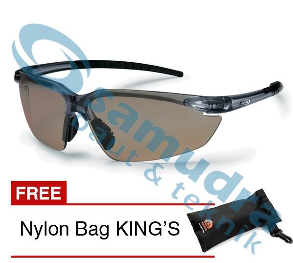KINGS KY 713 Kacamata Safety Clear Silver Mirror + Nylon Bag KING'S