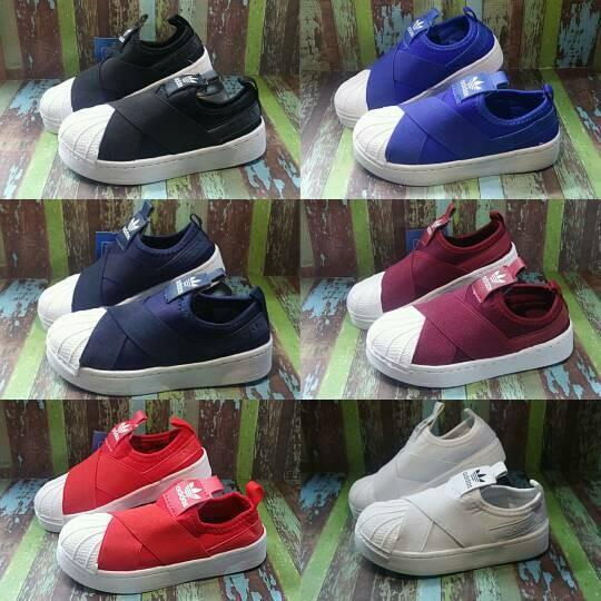... harga Sepatu anak adidas kids slop superstar slip on  compt nike.jordan. puma abf97e5323
