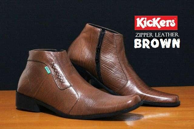 harga Sepatu kickers high pantofel zipper sewing =brown= leather Tokopedia.com