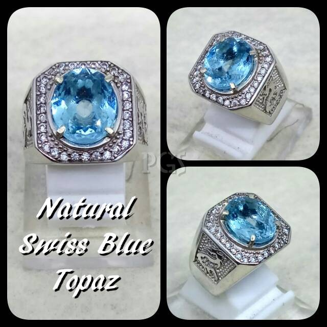 harga Cincin batu akik permata natural swiss blue topaz london ring alpaka Tokopedia.com
