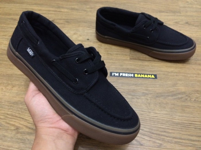 33e19d35b10 harga Sepatu vans zapato classic del barco black - gum brown premium hitam  Tokopedia.com