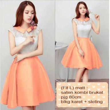 Baju Pesta Wanita Dress Warna Peach