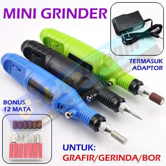 Foto Produk Mesin Mini Grinder Grafir Bor Potong Gerinda Ukir + Adaptor DC + Mata dari VISITEK