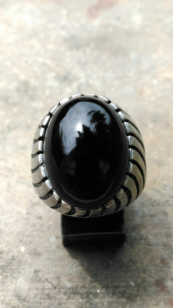 harga Cincin pria batu akik kecubung wulung deluxe super black tembus ungu Tokopedia.com