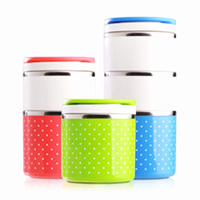 Bekal kotak makan 3 rantang susun polkadot stainless lunch box