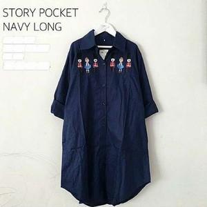 Jual Atasan Wanita Blus Tunik Kemeja Busana Muslim Story Pocket Navy ... 748f5d7b01