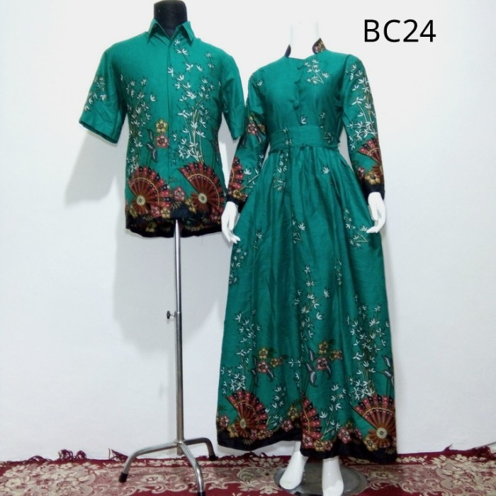 Jual Baju Batik Couple Model Gamis Sarimbit Kipas Hijau Batik