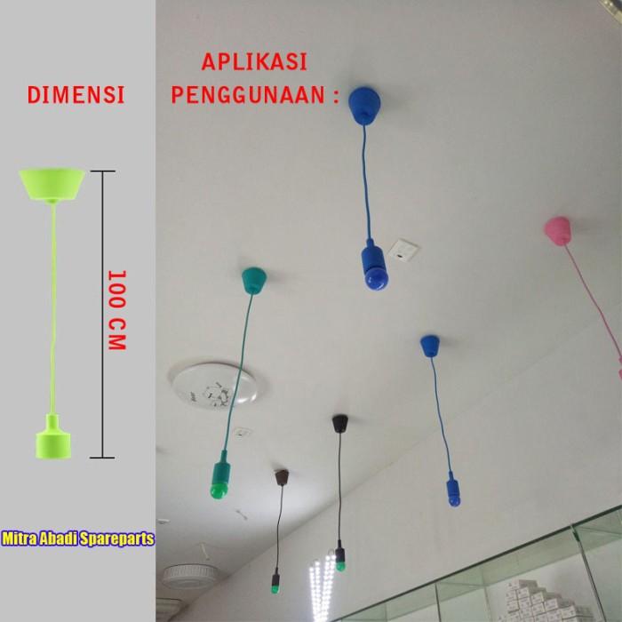 Cup Hanging Lamp/Kap Lampu Gantung Fitting E27 Plastik 1m/1 meter - Hijau Tosca