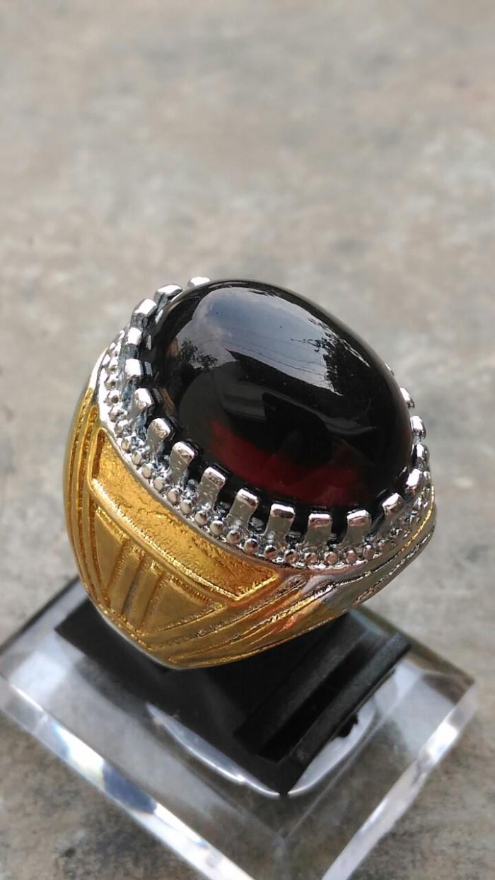 harga Cincin batu akik kecubung api obsidian hitam pekat tembus merah Tokopedia.com