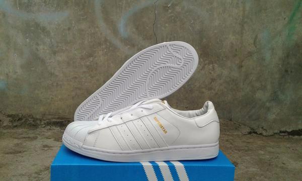 Jual Sepatu adidas superstar putih polos full white di