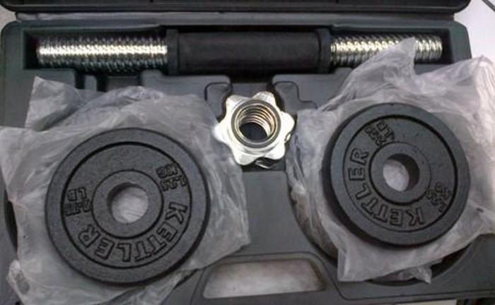 harga Dumbell set besi 10kg merk kettler pakai koper baru   alat fitnes mura Tokopedia.com